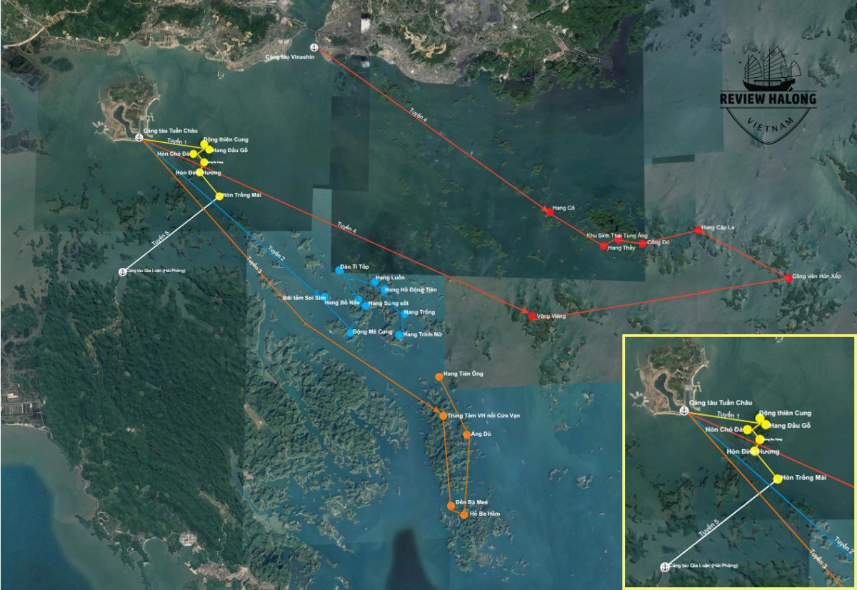Bản đồ hành trình 5 tuyến tham quan vịnh Hạ Long