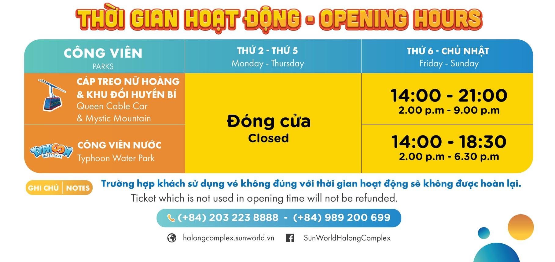 Bẳng thời gian hoạt động Sun World Hạ Long từ 01/07/2021