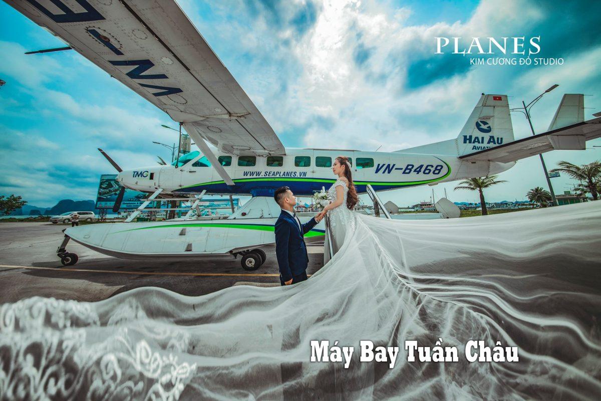 Cặp đôi chụp ảnh cưới tại Sân bay thủy phi cơ Tuần Châu Hạ Long