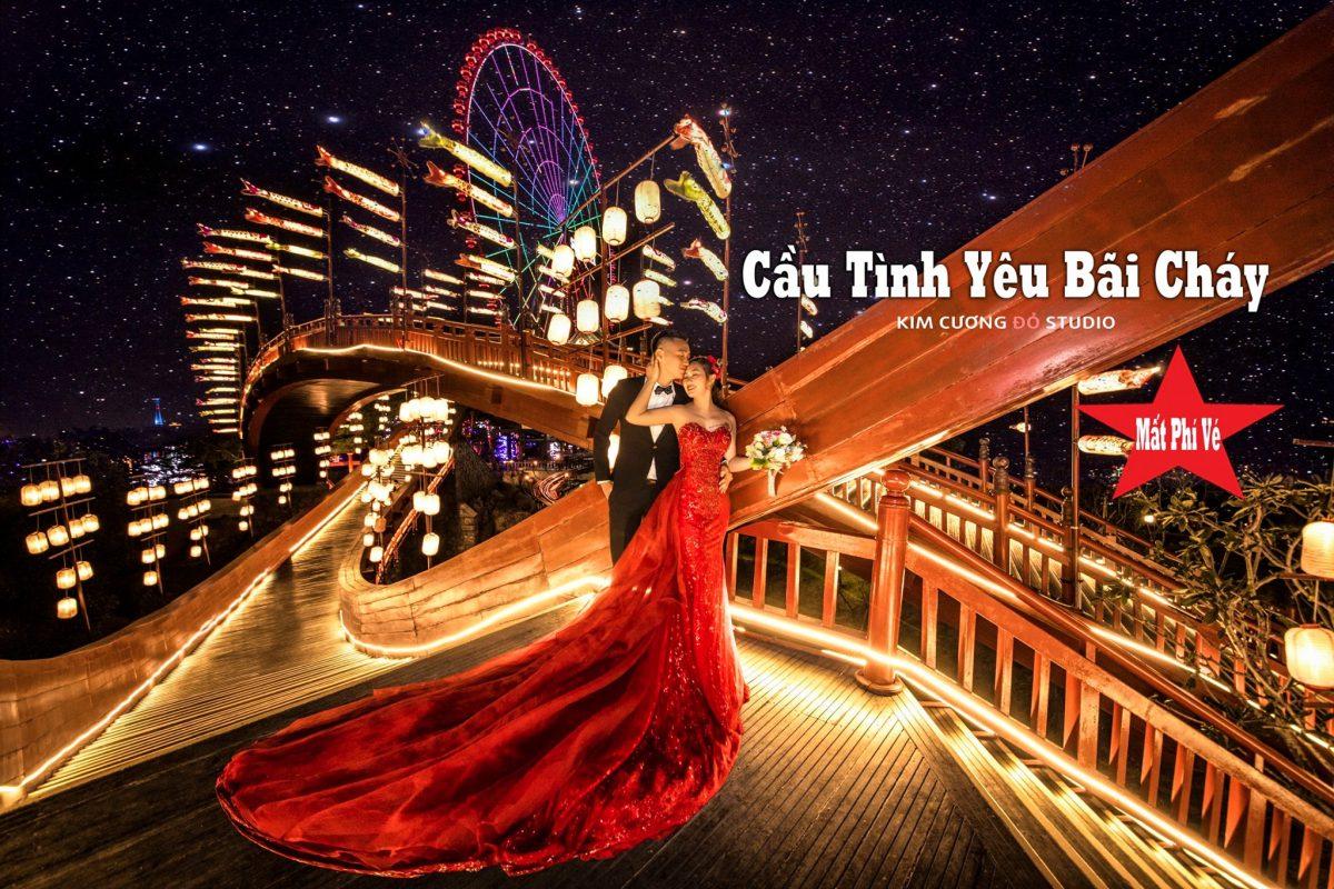 Cặp đôi chụp ảnh cưới tại Cầu Tình yêu, Khu đồi huyền bí, Sun World Hạ lOng