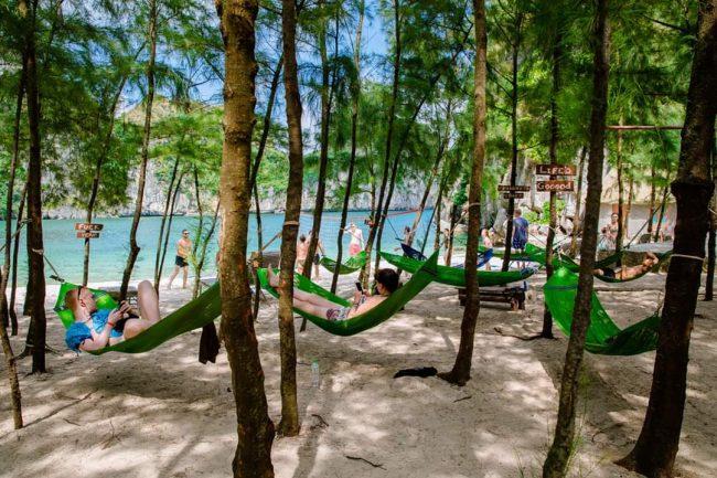 Du khách nằm võng nghỉ dưới hàng cây phi lao Freedom Island