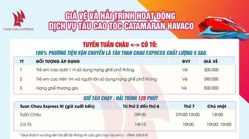 Bảng giá vé tàu cao tốc Tuần Châu - Cô Tô