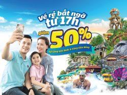 Poster giảm giá 50% gia vé Sun World mua sau 17h